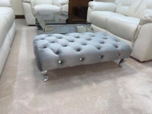 Brand New Chesterfield Upholstered Footstool/Coffee Table in Plush Fabric