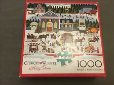 Buffalo 1000 piece jigsaw puzzle- Churchyard Christmas Charles Wysocki -Complete