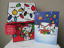 Snoopy Peanuts Gang Christmas Cards Box 16 Hallmark Designer Box Decoration New