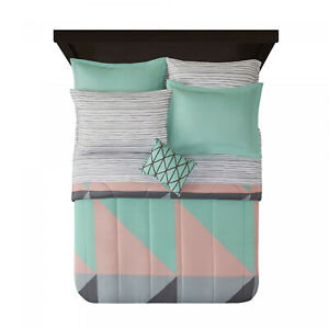 Grey & Teal 8 pc Bed in a Bag Bedding Set with BONUS Sheet Set, Queen New