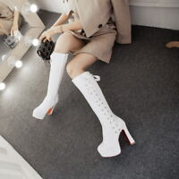 Women Fashion High Heels Lace up Platform Party Knee High Boots Shoes Size 33-43