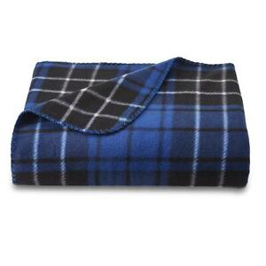 Essential Home Blue Plaid Fleece Throw Blanket  50x60in