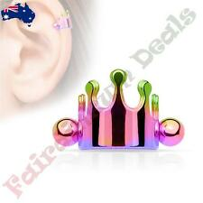 316L Surgical Steel Rainbow Ion Plated Crown Helix / Cartilage Cuff Barbell
