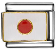 JAPAN JAPANESE FLAG Enamel Italian Charm 9mm - 1 x PE021 Single Bracelet Link