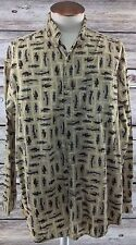 Mens Columbia Button Front Shirt Fish Pattern Long Sleeve Tan Size XXL