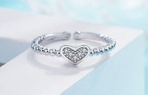 Crystal Heart Adjustable Ring 925 Sterling Silver Womens Girls Jewellery Gift UK