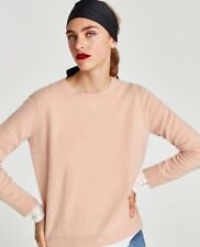Zara New AW17 Roundneck 100% Cashmere Sweater Knitwear Pink Size M NWT RRP$149
