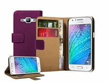 Wallet PURPLE Leather Case Cover For Samsung Galaxy Duos SM-J100H, SM-J100H/DS