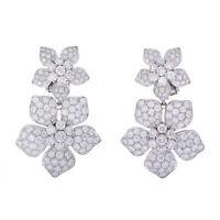 """Elegant Cluster 18K white Gold Diamond 2.15"""" Dangle Earrings 925 Sterling Silver"""