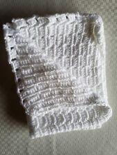 "White Handmade Crocheted Baby Blanket - Lovey-sized 13"" x 20"""