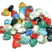 G3381 Mix Color w Flower & Speckles 16mm Puffed Heart Lampwork Glass Beads 20pc