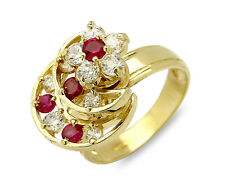 Women's 3 Tier Star & Moon's Gemstone Ring in 14k SOLID Yellow Gold