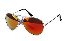 Full Orange Spectrum Lens Aviator Sunglasses Pale Green Tint Silver Frame UV400