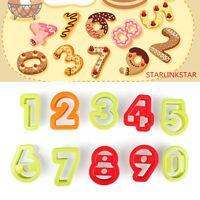 10Pcs/set Number Cake Fondant Decor Biscuit Baking Mould Cookie Cutters