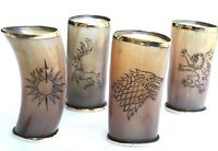 """Game of thrones houses Set of 4 Assorted viking drinking horn cups 6"""" for beer"""