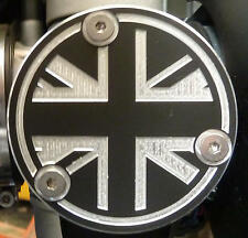 Triumph Bonneville T120 Thruxton + R Drosselklappen Abd. Alu gefräst Union Jack