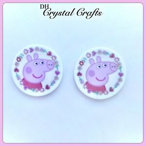 2 Flat Back Resin Peppa Pig Theme Resin Embellishments For Crafts Arts #L40