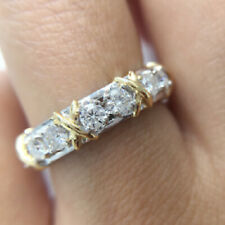 1.20 TCW Round Cut Moissanite Eternity Engagement Band In 14k White Gold Plated