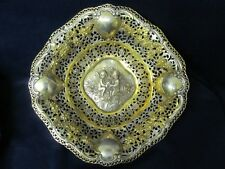 INTRICATE HEAVY DETAILED 2 CUPIDS CTR HOLDING ROSE GILT 800 SILVER BOWL  NO MONO