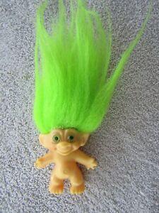 Vintage 60s Dam Troll Doll Neon Green Hair Matching Glass? Eyes UK Reg Number NR