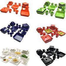 45 Piece Dinnerware Set Square Banquet Plates Dishes Bowls Kitchen Multi-color