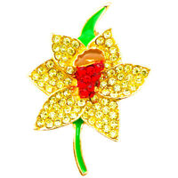 NEW GOLD DAFFODIL RHINESTONE DIAMANTE CRYSTAL BROOCHES PIN BOUQUET LOT FOR WOMEN