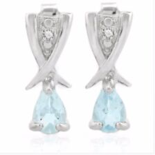 TOPAZ & DIAMOND EARRINGS SILVER.2.39 CWT WHITE GOLD LOOK NOVEMBER BIRTHDAY REAL