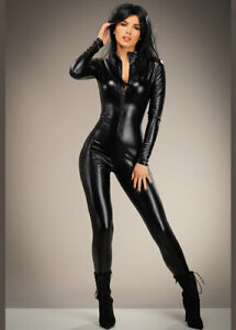 Womens Catwoman Catsuit Sexy Adult Fancy Dress Costume Black