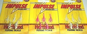 Northland Tackle Impulse Rigged Mayfly Jigs (Lot of 3-Glo Pink/Glo White)