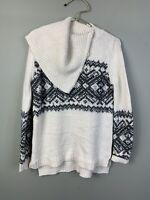 Ruff hewn womens sweater cowl neck fair isle ivory black medium tunic wool blend