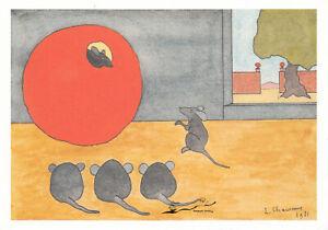 Postkarte: Chauveau - Fabeln La Fontaine Die Ratte, die sich von der Welt