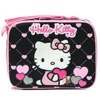 Hello Kitty by Sanrio Insulated Lunch Box Bag Black Pink Hearts, New