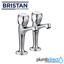 Bristan Club High Neck Pillar Kitchen Sink Taps Pair Chrome VAC HNK C MT