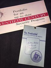 Vintage 1950's Insurance Documents The Prudential Insurance Co. of American