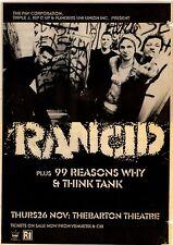 Rancid rare 1998 Full Page Concert Print Ad, Adelaide, Australia 10x14 inches