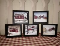"Set of 5 Winter Christmas Billy Jacobs Small Framed Box Pictures, New 4"" x 4.75"""