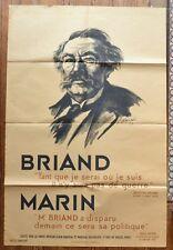 Grande Affiche de Josué Gaboriaud 1932 - Aristide Briand - Louis Marin
