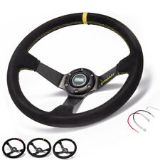 Auto 350mm Deep Dish Drift Racing Steering Wheel Suede leather With Horn Button