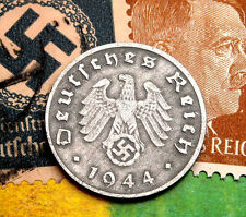 D-DAY 1944-D WW2 NAZI German 1 Reichspfennig SWASTIKA Coin & Hitler Stamp LOT