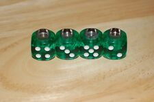 DUDDS DICE GREEN GEM w/WHITE DOTS VALVE STEM CAPS (4 PACK) #61