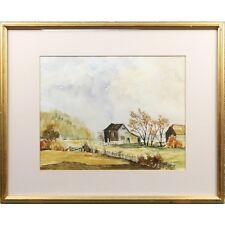 Framed Original Autumnal Landscape Watercolour Painting Signed J. Allen 1981