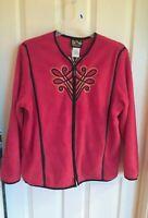 NEW Bob Mackie Wearable Art Coat Red Embroidered Fleece Zip Jacket Womens XL