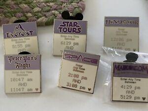 Disney Fast Pass Hidden Mickey Pin Set- 6 Pins