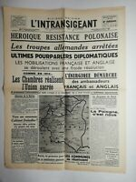N555 La Une Du Journal L'intransigeant 3 septembre 1939  résistance polonaise