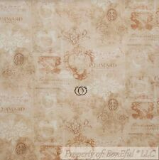 BonEful FABRIC FQ Cotton Quilt Cream Tan Brown French Country Wine Toile Damask