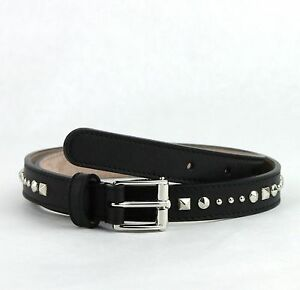 $495 Gucci Studded Black Leather Skinny Belt With Silver Buckle 380561 1000