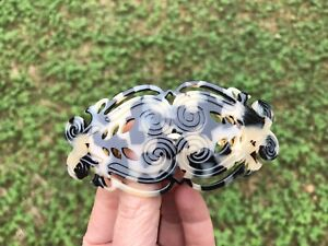 France Luxe Barrette Hair Clip Motifs Ivory Black