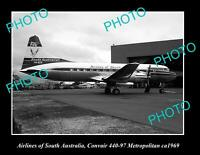 OLD POSTCARD SIZE PHOTO OF AIRLINES OF SOUTH AUSTRALIA PLANE ca 1969