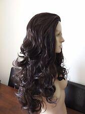 very dark brown wavy curly 3/4 half head long hair wig on half cap fancy dress