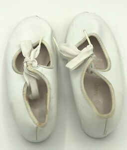A B C Dance Supplies Tap Shoes, Little Girl's Size 11 M, White
